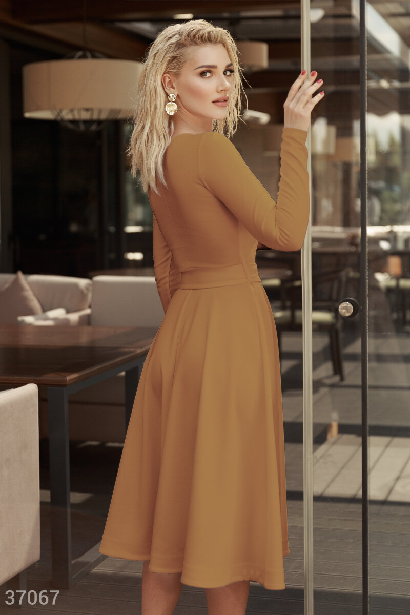 Minimalistic dress in a caramel color