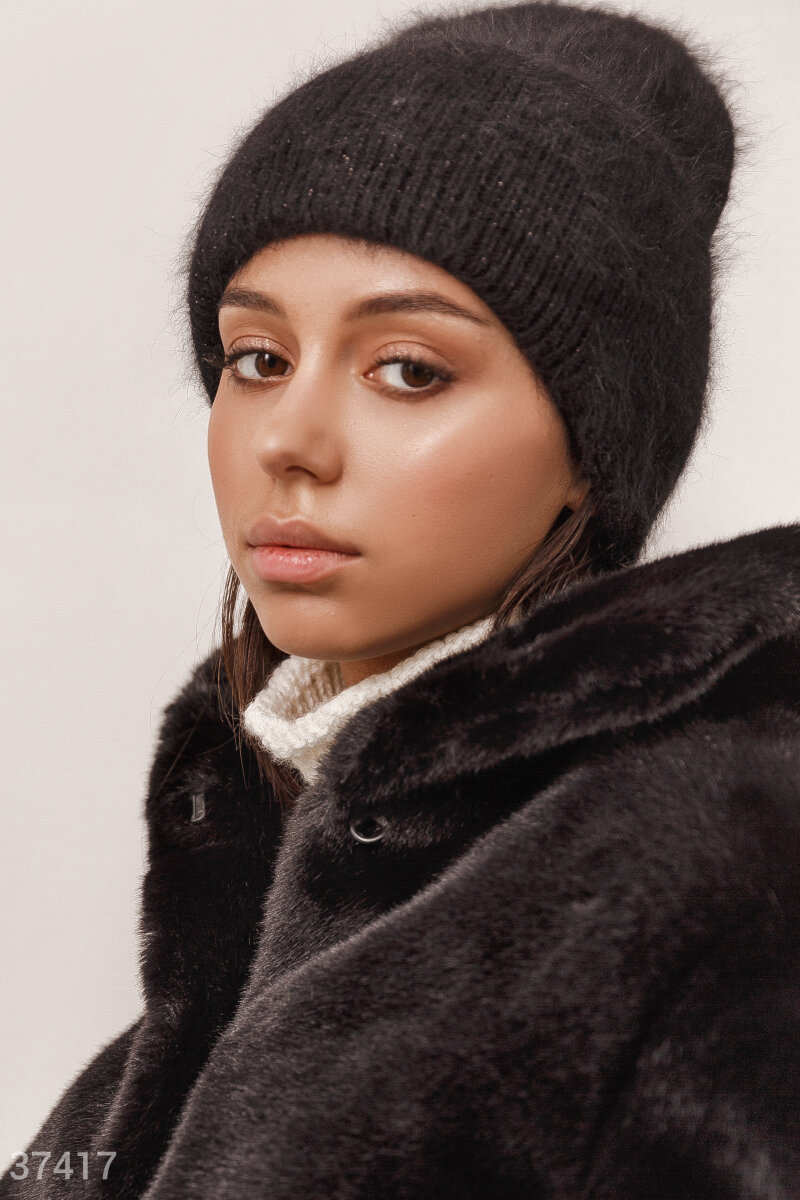 Angora hat with lapel