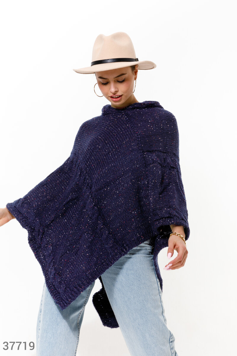 Hooded poncho   Blue 37719