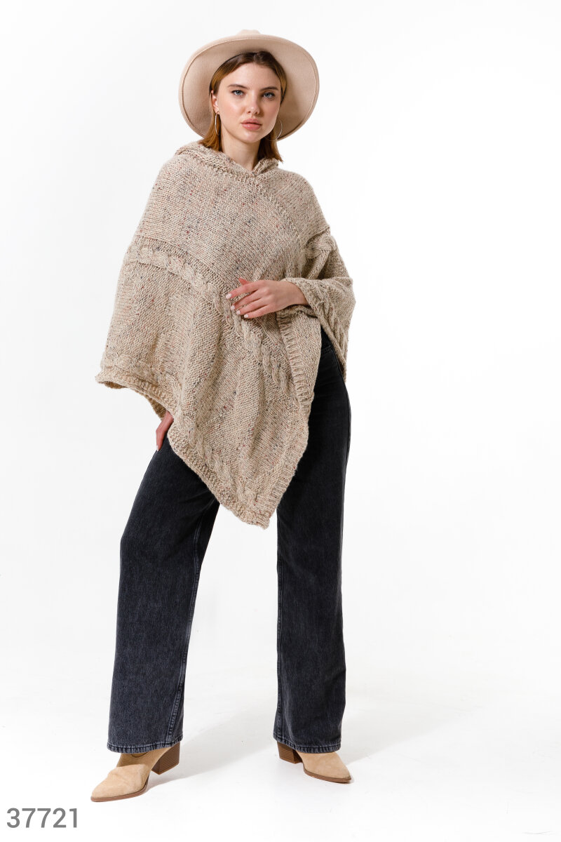 Hooded poncho  Beige 37721