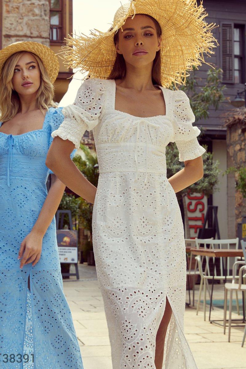 Ажурное платье-макси из хлопка