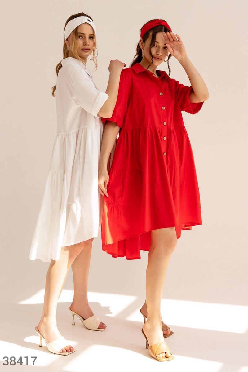 Коттоновое платье-рубашка красного цвета