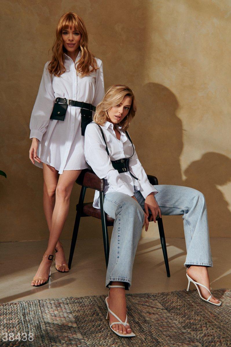 Удлиненная рубашка с кожаным поясом