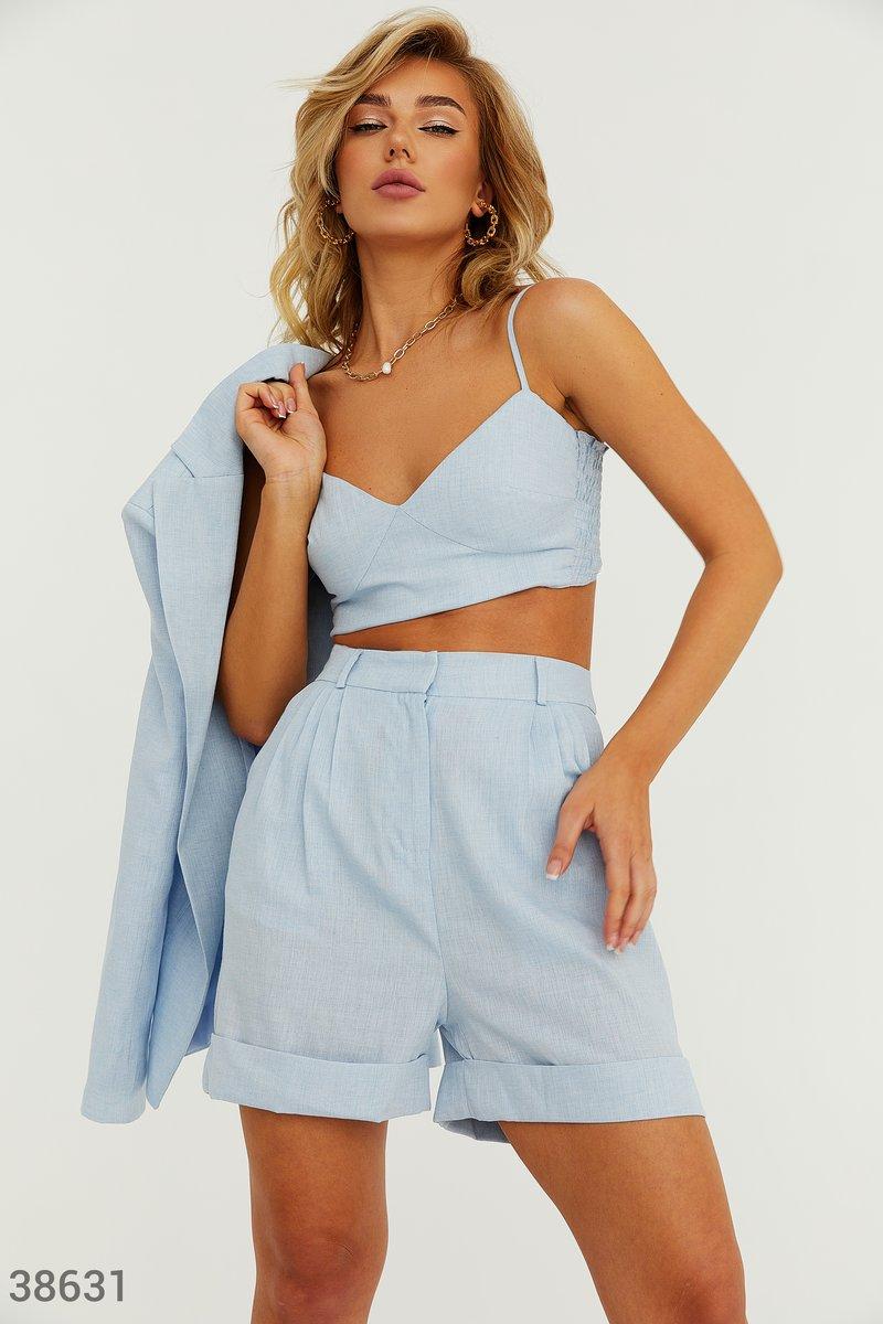 Голубые льняные шорты