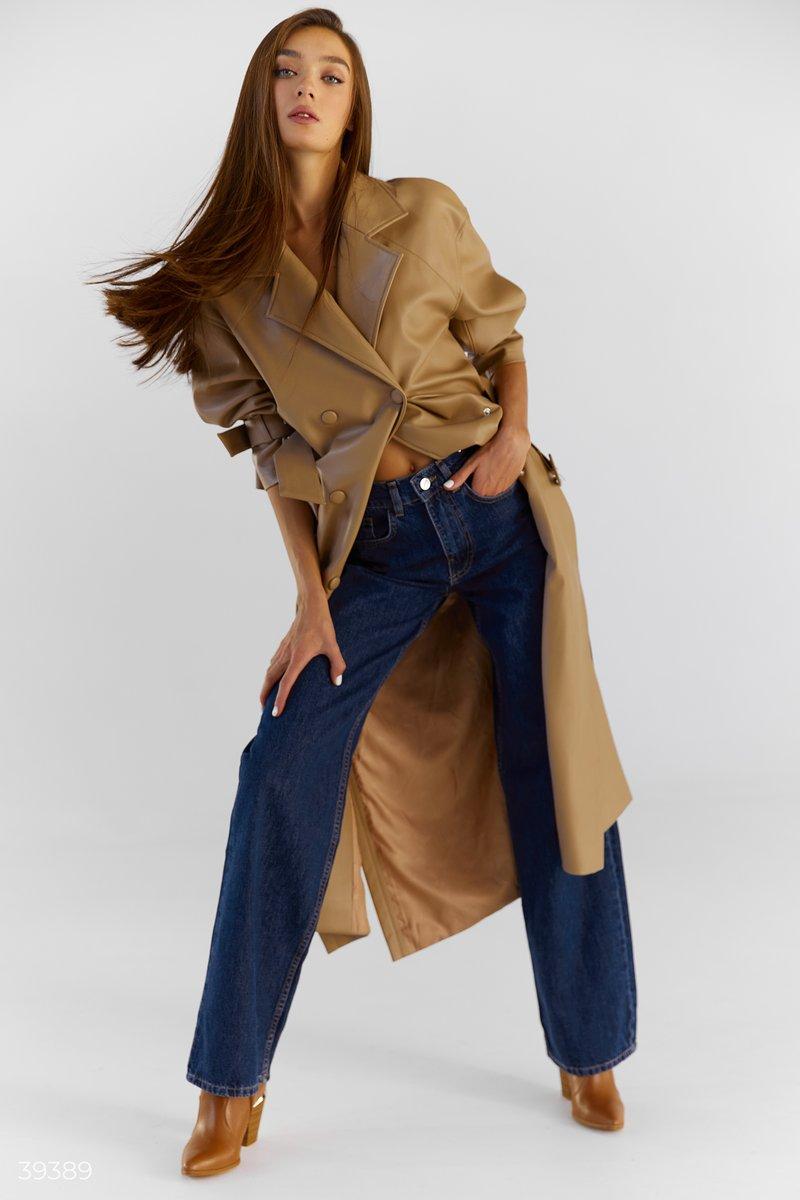 Синие джинсы с высокой талией