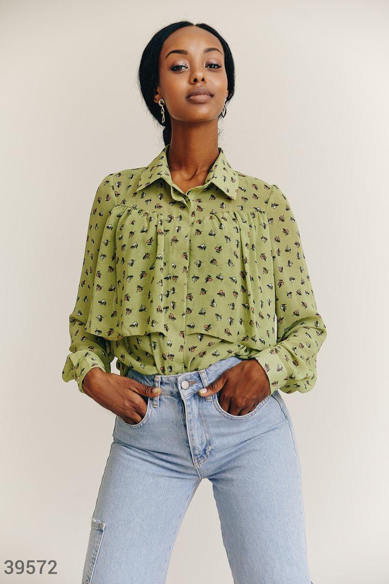 Салатовая блуза из шифона
