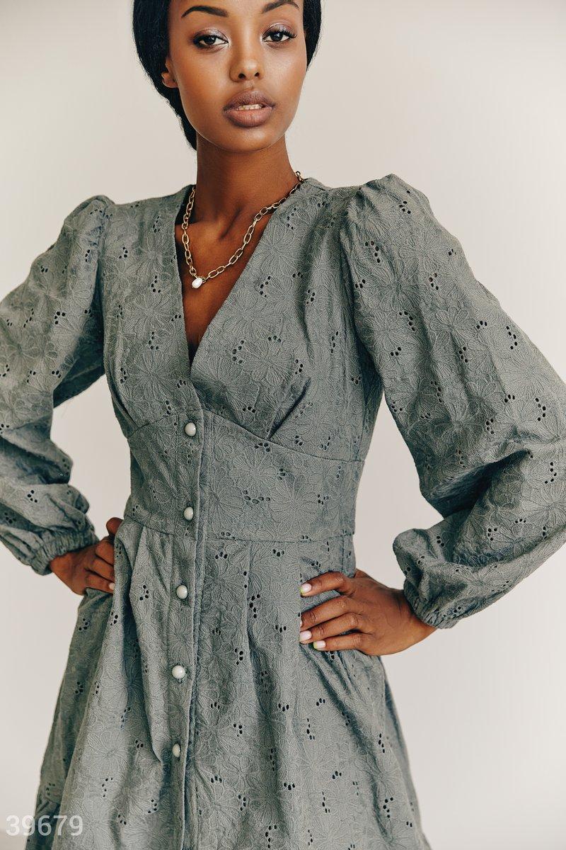 Платье из хлопка цвета хаки