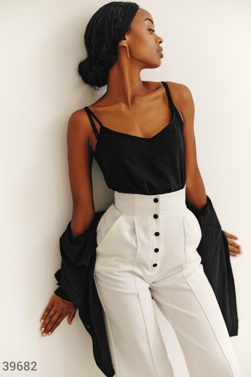 Черный комплект из топа и рубашки