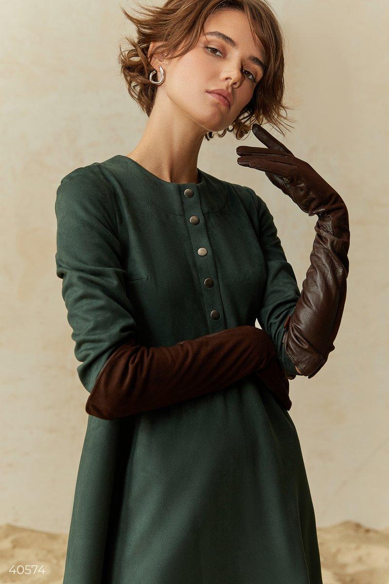 Длинные коричневые перчатки из натуральной кожи