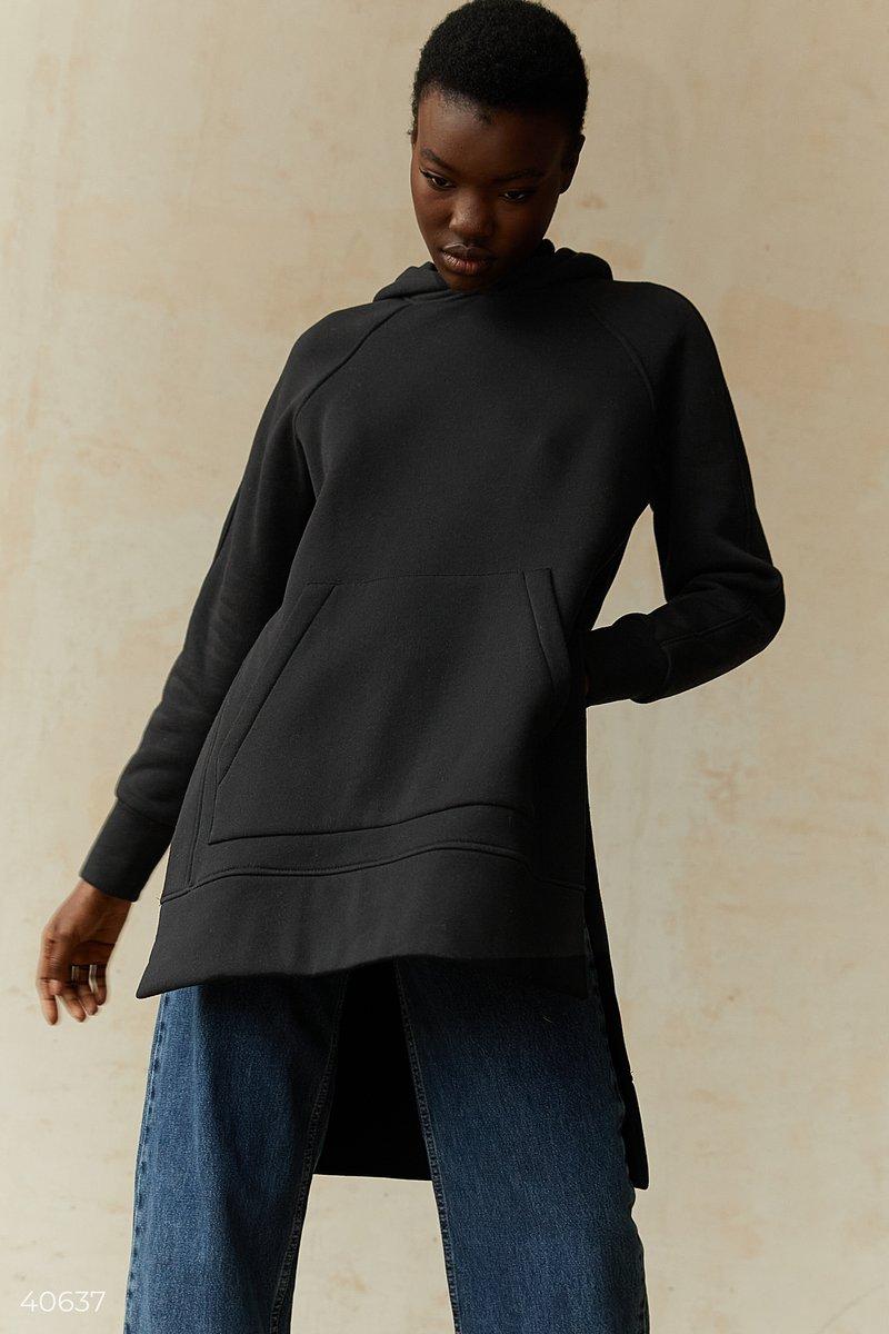 Черное худи oversize с капюшоном